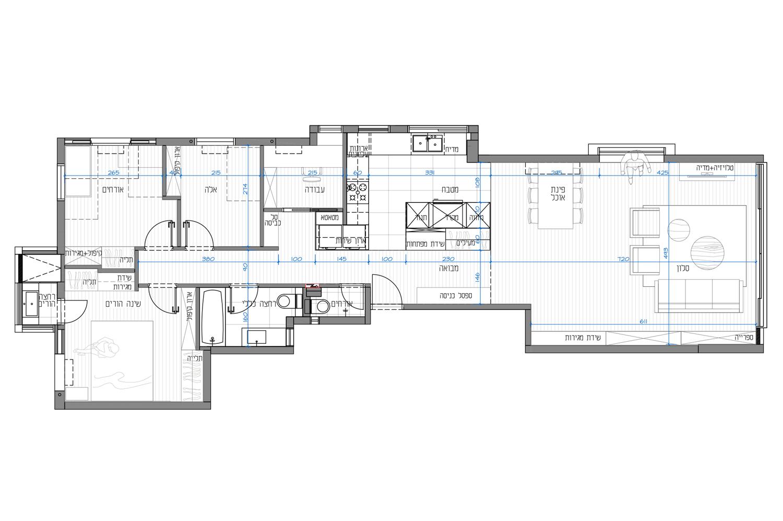 תכנית דירה בתל אביב. שיפוץ כללי תכנון ועיצוב רונית כפיר
