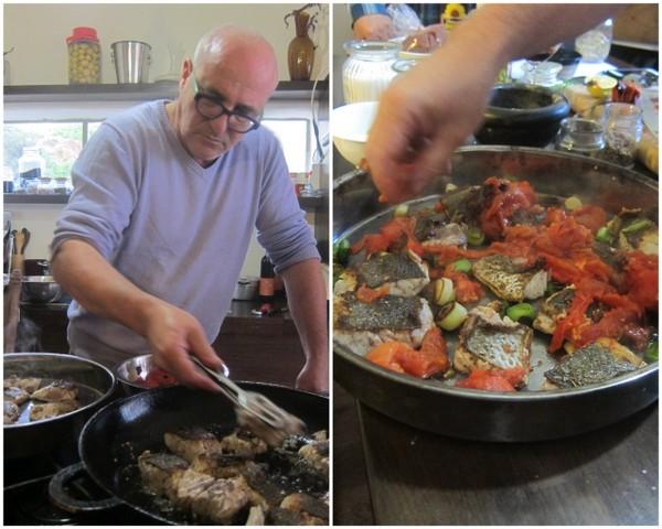 סיניה מוסר ים עם עגבניות צרובות על הגריל, כרישה וטחינה מעל